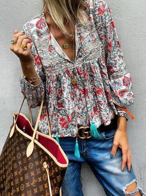 Vintage Printed Boho Tassel Top-3color