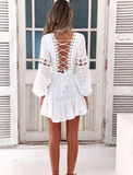 White Lace Cotton Sexy Lace-up Mini Dress