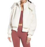 Lapel Hooded Zipper Jacket Teddy Coats-3color