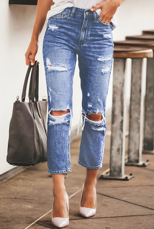 Shredded Straight Nine Points Jeans