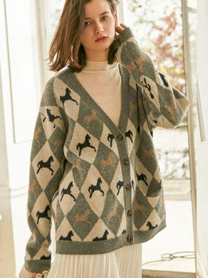 V-neck Cartoon Rhombus Knitted Sweater Boho Outerwear