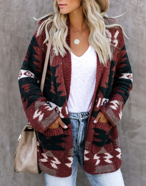 Christmas Loose Pocket Knit Cardigan-2color