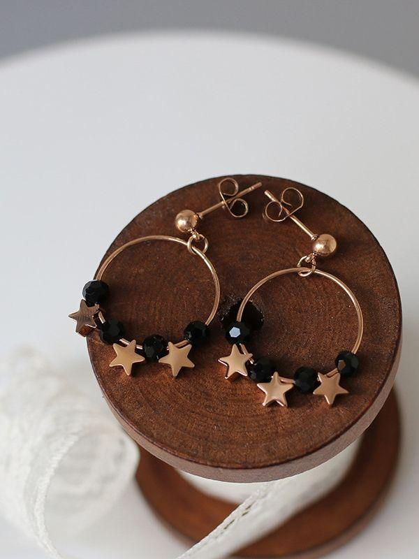 Star Smple Ring Black Crystal Beads Luck Earrings
