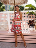 Rose Flower Print Spaghetti Strap Single Breasted  Midi Dress