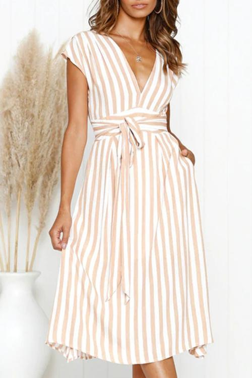 Casual Striped Mid Calf Dress