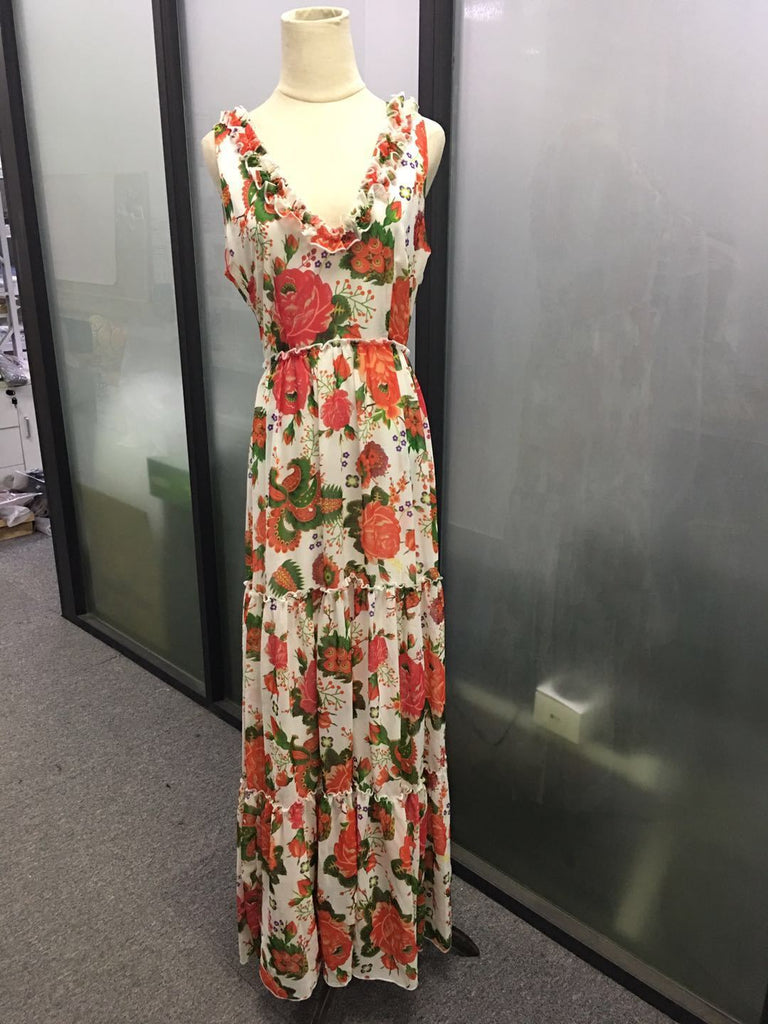 Split-joint Printed V-neck Sleeveless Maxi Dress