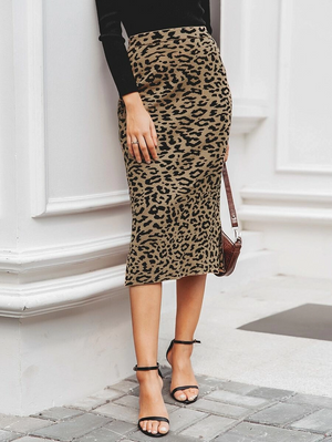 Split Side Leopard Knit Skirt