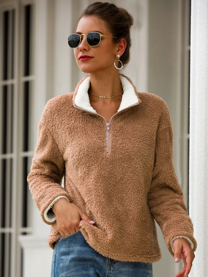 Half Zip Teddy Sweatshirt