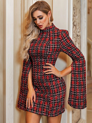 Plaid Backless Split Sleeve Tweed Bodycon Dress