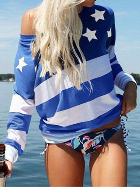 Long Sleeve Printed One Shoulder Loose T-Shirt