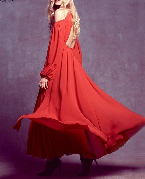 Red Sling Sexy Dress Open Backless Chiffon Maxidress