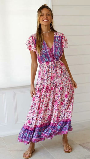 Bohemian Bloom Flowers Maxi Dress