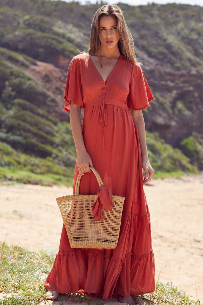 Bohemian Cotton Short-sleeved Maxi Dress