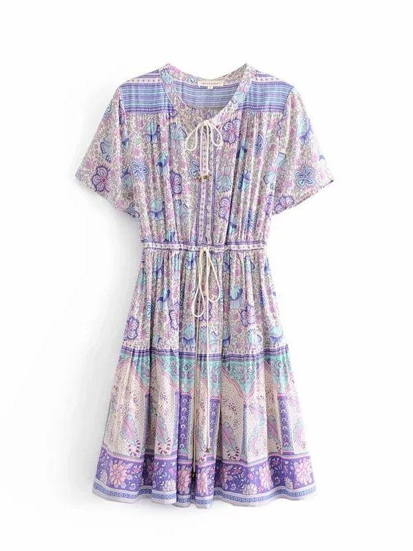 floral print rayon sexy V-neck summer dress