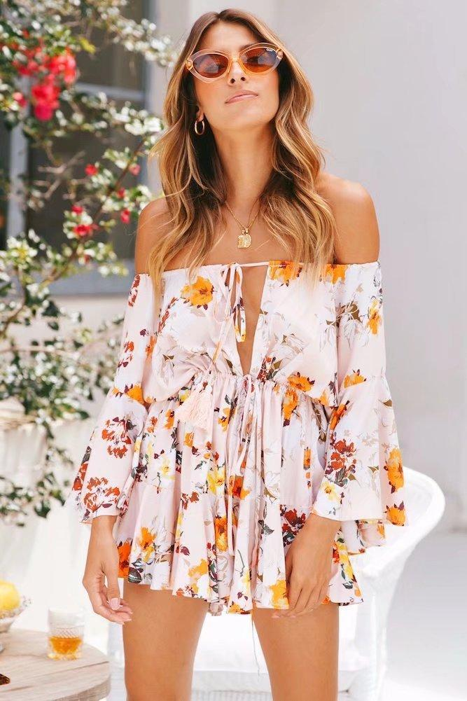 Flowery Palace Sleeve Jumpsuit