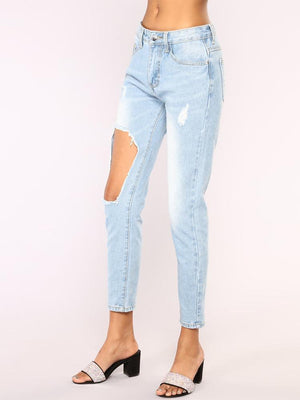 Denim Cut Out Distressed Plus Size Pencil Jeans