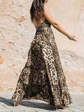 Leopard Halterneck Backless Dress