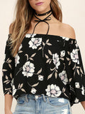 Women Summer Floral Blouse Off shoulder Ruffle Tops