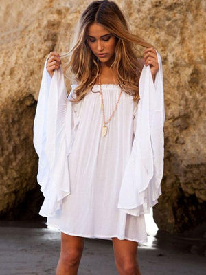 Off-the-shoulder Flared Sleeves White Mini Dress