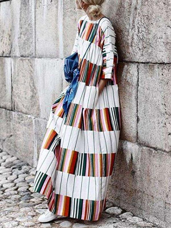 Bohemia Long Sleeves Striped Loose Maxi Dress