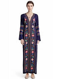 Bohemia Floral Embroidery High Slit Women Long Dress