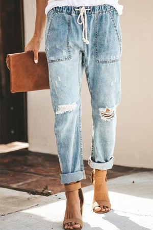 Broken Holes Patch Pocket Denim Jeans Pants