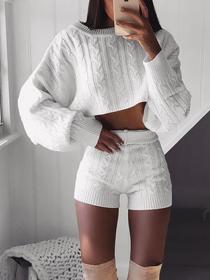Knitted Long Sleeve Crop Top & Shorts Sets