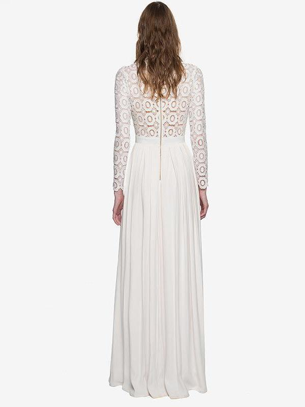 Long Sleeve Self Portrait White Lace Party Maxi Dress