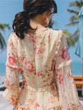 Chiffon Printed Lantern Sleeve Waist Holiday Dress