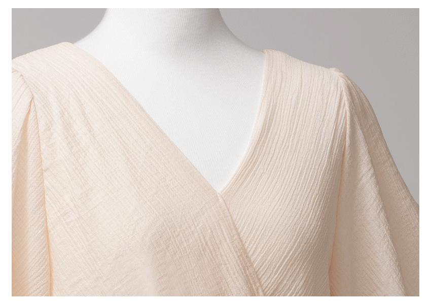 Solid Color V-neck Chiffon Daily Dress -4color