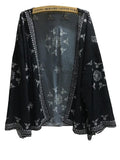 Women Casual Black Plus Size Long Chiffon Vintage Blouse Tops