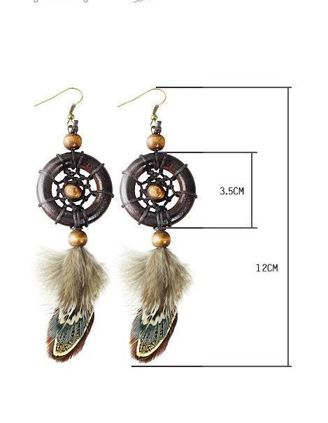 Original Indian Style Vintage Wood Dream Catcher Earrings