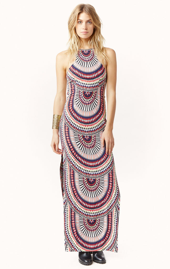 Sexy Open Back Split Print Sleeveless Dress