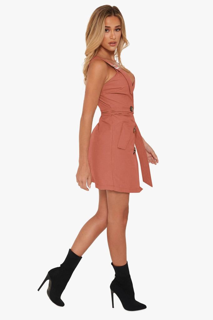 Cotton V-neck Button Tie Dress -5color