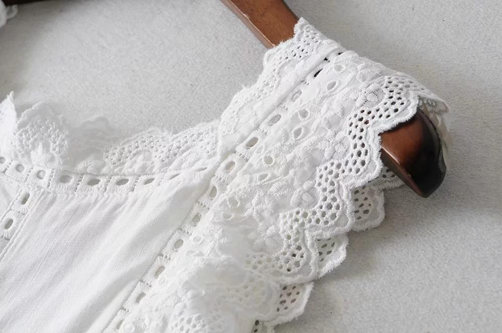 Cotton white hollow lace jumpsuit
