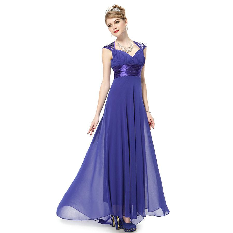 Women Long V-neck Sequins Chiffon Bridesmaid Dress