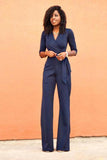 NAVY HALF SLEEVE V-NECK JUMPSUIT