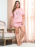 Casual Pink Print Casual Two Piece Printed  Tops and Short Pants Loose Striped Sets XL-4XL