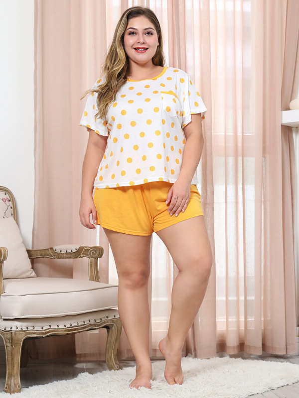 Yellow Cotton Loose Printed Two Pieces Tops and Short Pants Ladies Sets XL-4XL