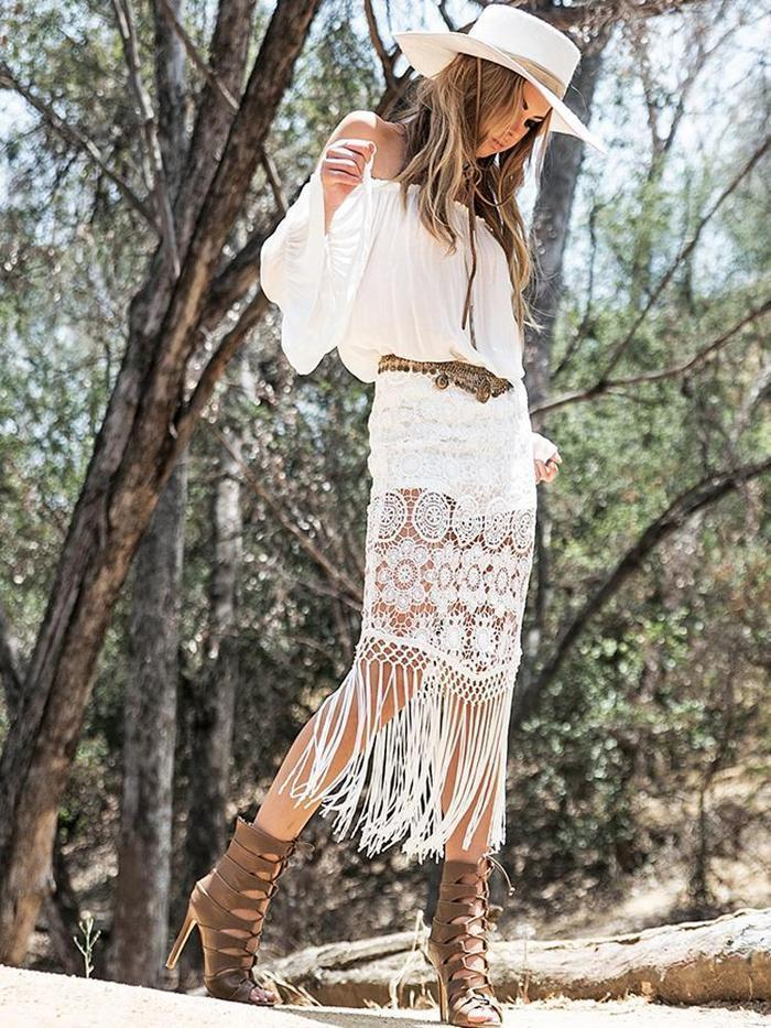 Cotton White Lace Tassels Dress