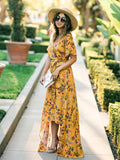 Print Bohemian V-neck Lace Front Maxi Dress
