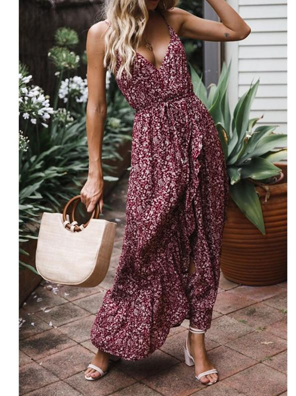 Sexy Bow Strap Wine V Neck Sleeveless Maxi Dress