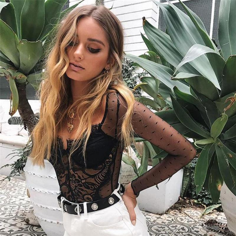 Long Sleeved V-neck See-Through Lace Jumpsuit