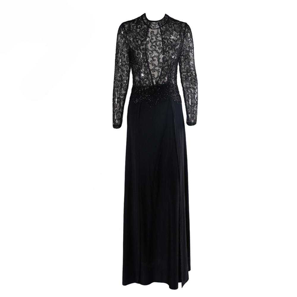 Fashion Flash sexy high-necked long-sleeve sequin split Dress