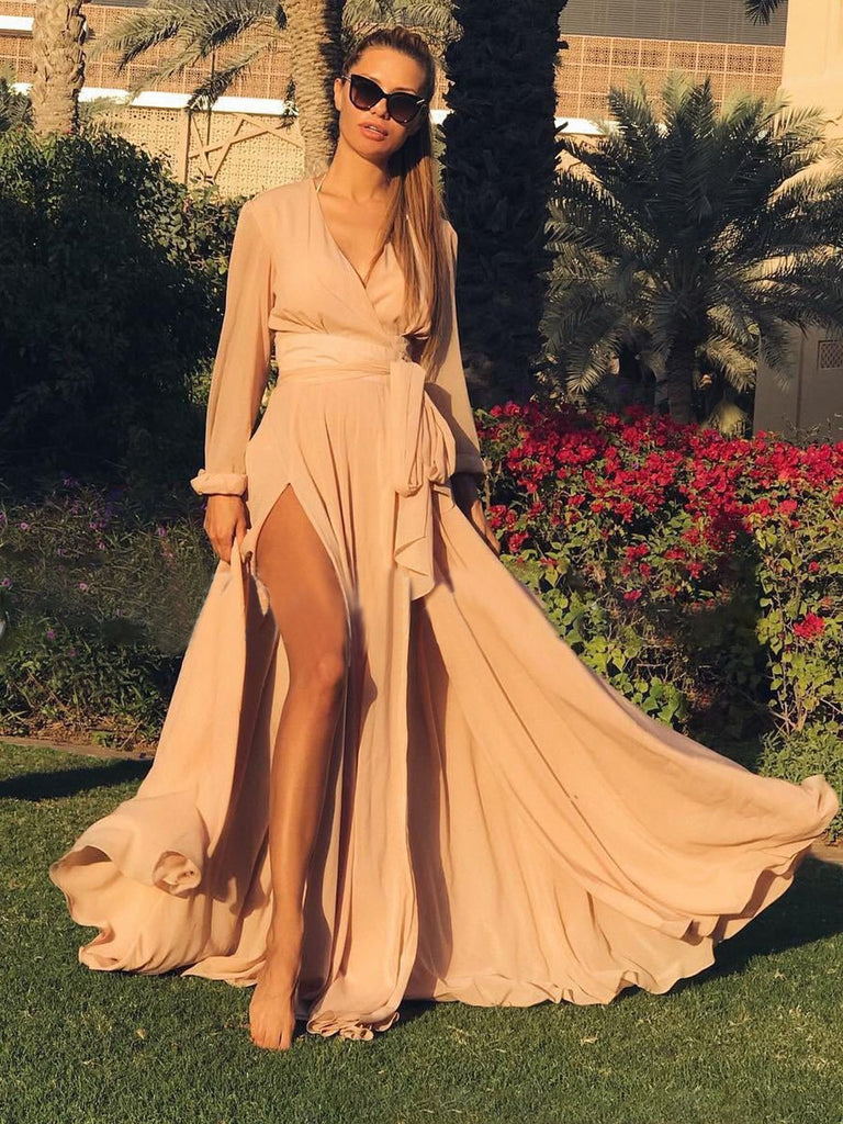 Bohemian V Neck Split Dress Maxi Party Dresses