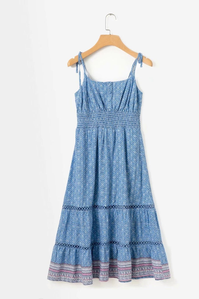 Blue Lace Stitching Floral Sling Midi Dress