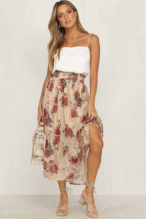 Chiffon Pastoral Pleated Skirt