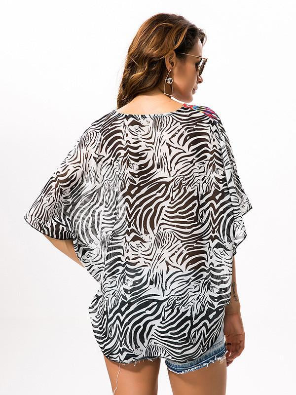 Women Beach Shirt Chiffon Blouse Plus Size Cover Up Top
