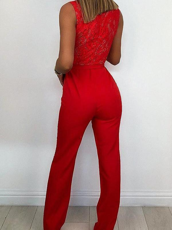 Sexy Slim Fit Lace Splicing Jumpsuit