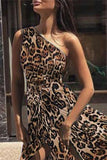 Sexy One Shoulder Sleeveless Leopard Maxi Dress